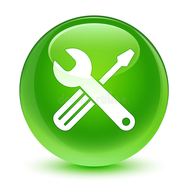 Utiliza ferramentas o botão redondo verde vítreo do ícone ilustração do vetor