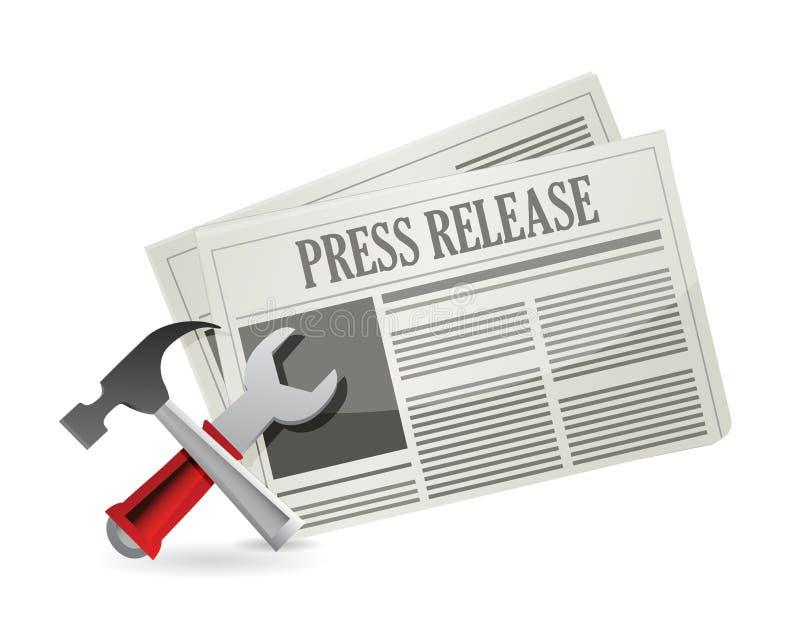 Utiliza ferramentas o comunicado de imprensa novo ilustração do vetor