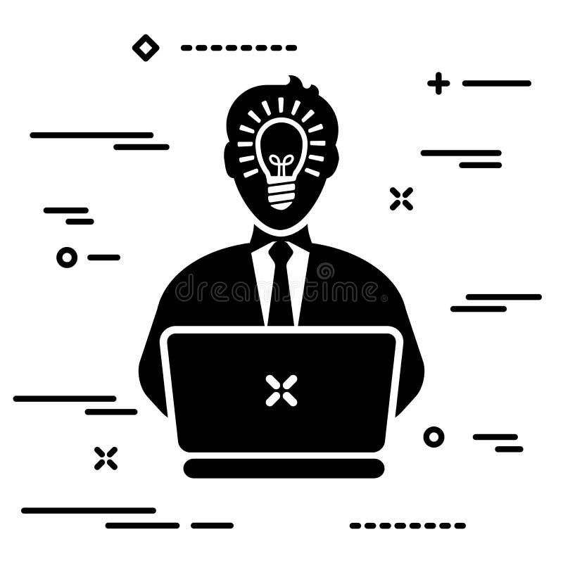 Utilizador com lâmpada interior de cabeça e gravata que trabalha no computador portátil, ilustração do conceito de pessoa inspira ilustração royalty free