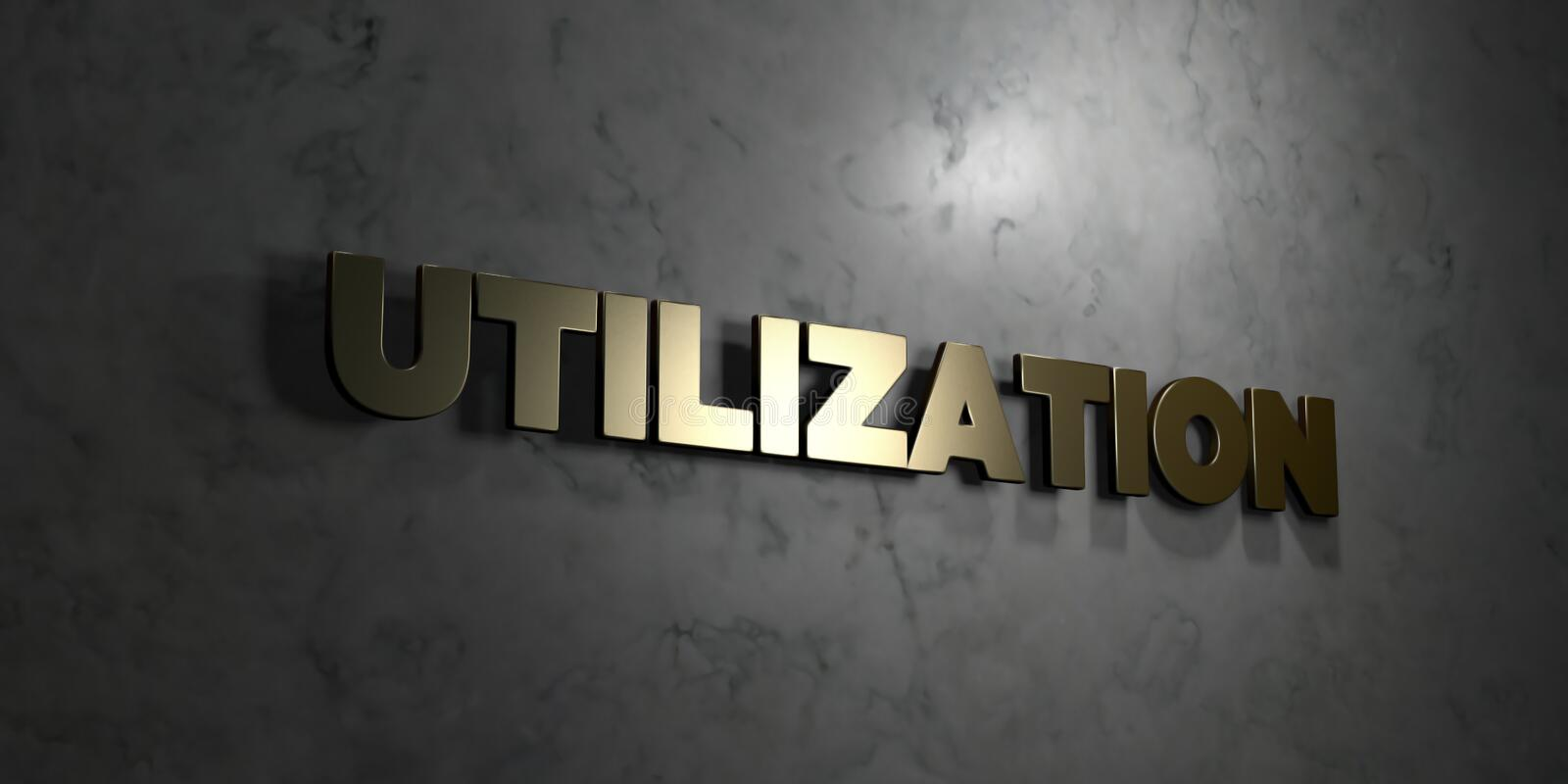 Utilization - Gold text on black background - 3D rendered royalty free stock picture. This image can be used for an online website banner ad or a print stock illustration