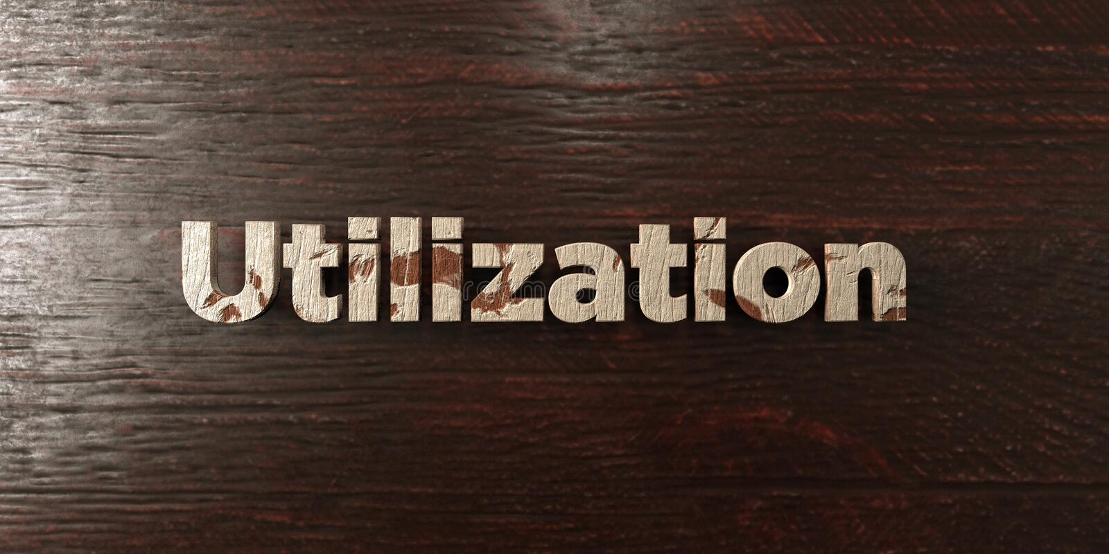 Utilization - grungy wooden headline on Maple - 3D rendered royalty free stock image. This image can be used for an online website banner ad or a print royalty free illustration