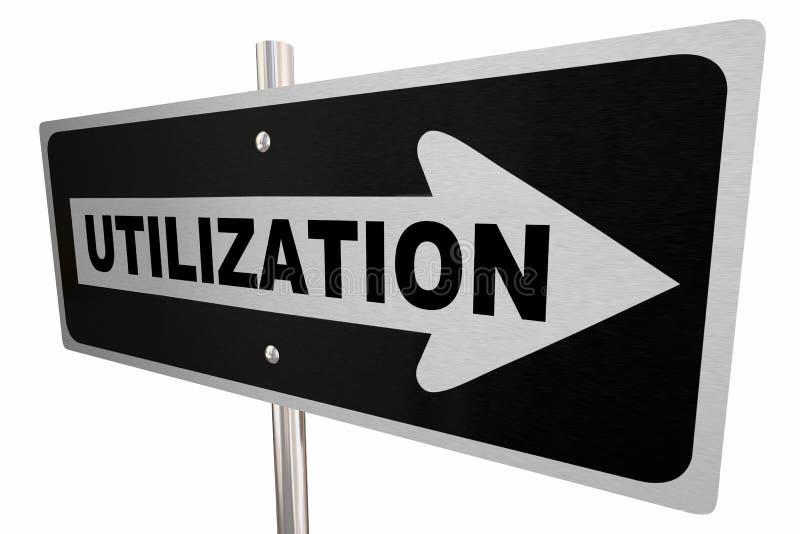 Utilization Word One Way Road Sign Utilize Resources 3d Illustration royalty free illustration