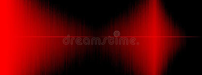 Utjämnare solid våg, vågfrekvenser, abstrakt bakgrund för ljus som är ljus, laser Röda solida vågor som svänger abstrakt musik stock illustrationer