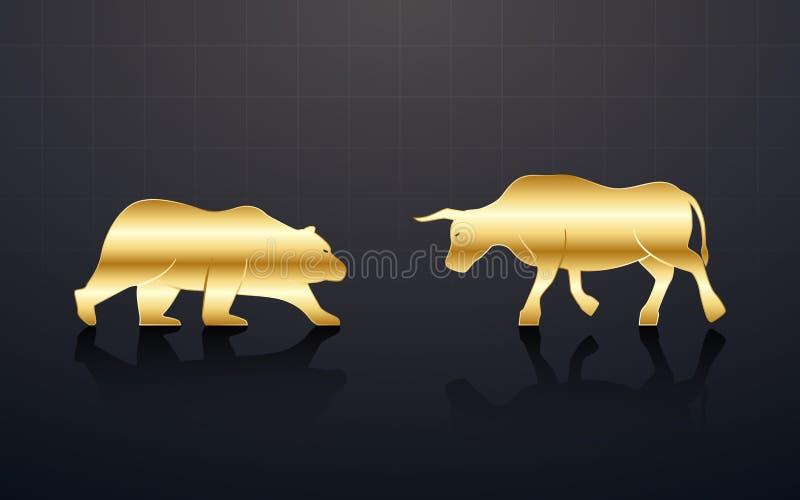 Utkast till ekonomisk översikt med gyllene tjurar och med svart bakgrund på aktiemarknaden royaltyfri illustrationer