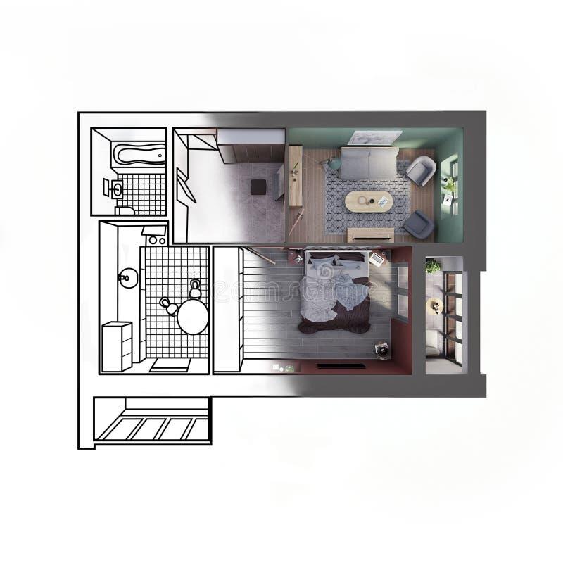 Utkastet skissar av en modern lägenhet för två sovrum som kontrasterar med en realistisk 3d tolkning, bästa sikt stock illustrationer