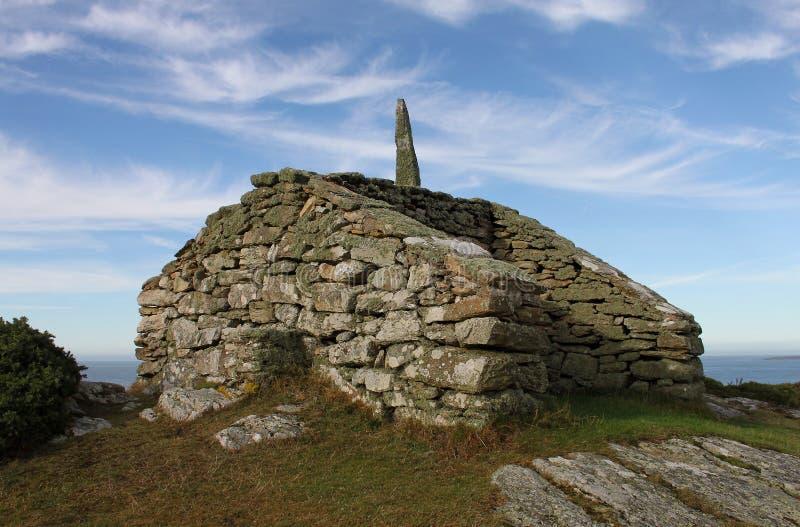 Utkik- och vägpunkt, Rhoscolyn, Anglesey, Wales arkivbild