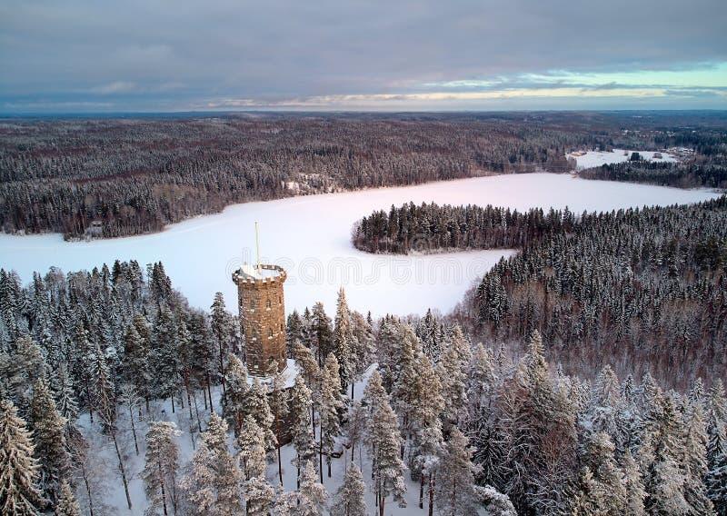 Utkiktorn i vinterlandskap fotografering för bildbyråer