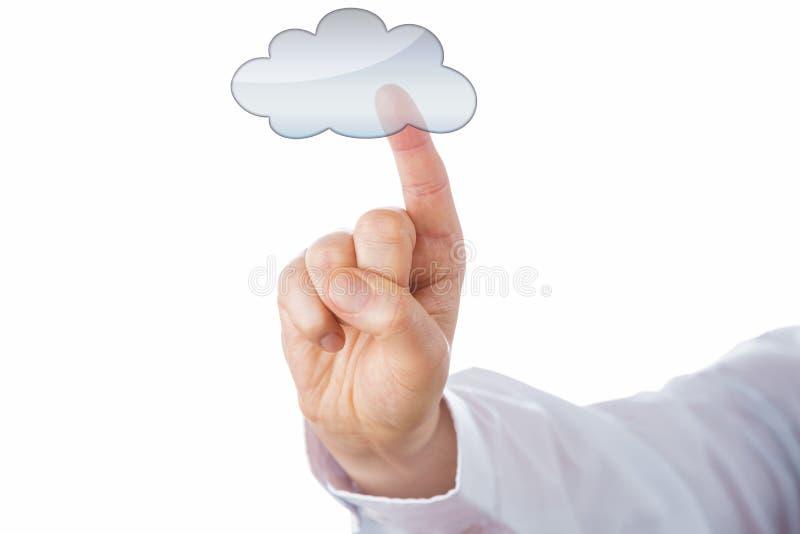 Utklipp av ett manligt finger som trycker på en utan laga kraft molnsymbol royaltyfri foto
