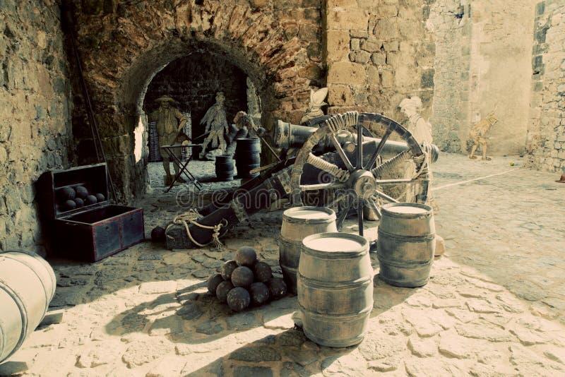 Utläggning i den gammala staden av Ibiza, Spanien arkivfoto