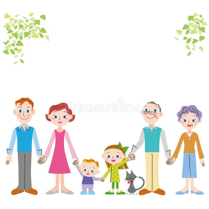 Utländsk familj av den tredje utvecklingen för bra vän som binder en hand stock illustrationer
