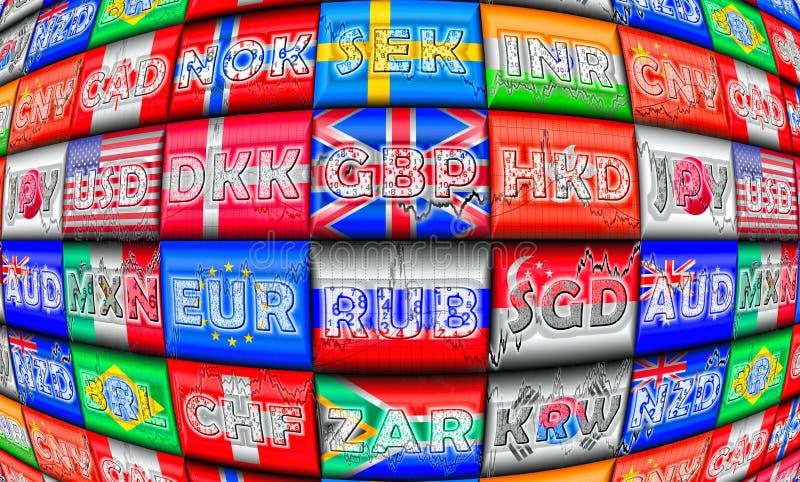 utländska marknader för utbyte vektor illustrationer