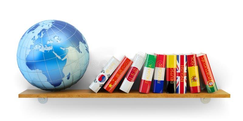 Utländska språk lär och översätter utbildningsbegrepp royaltyfri illustrationer