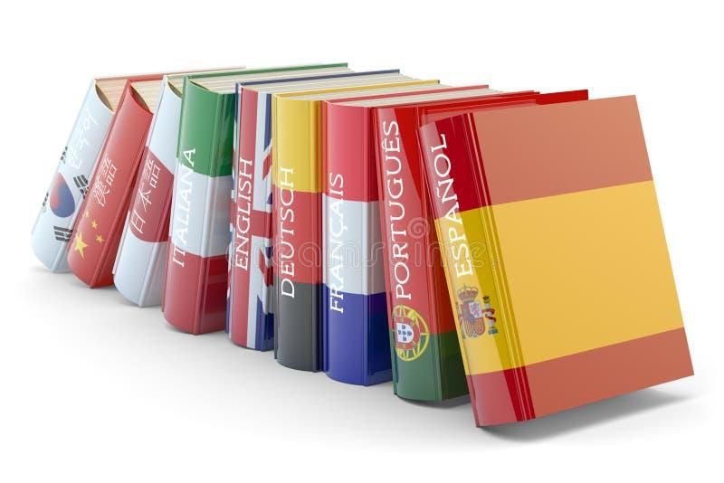 Utländska språk lär och översätter utbildningsbegrepp stock illustrationer