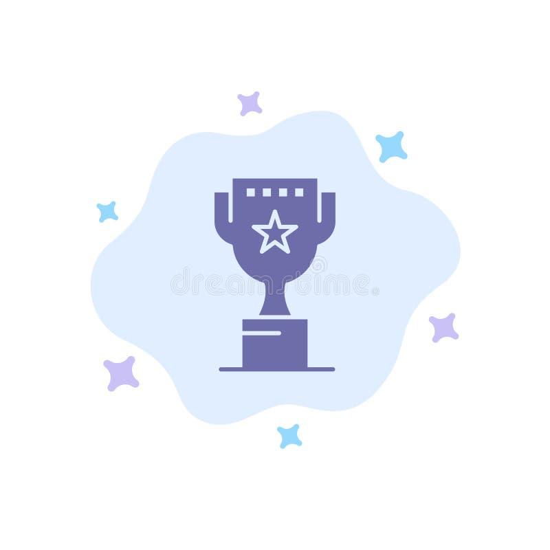 Utmärkelse överkant, position, blå symbol för belöning på abstrakt molnbakgrund vektor illustrationer