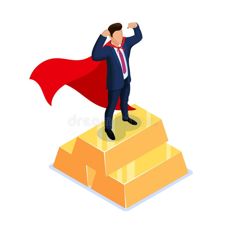 Utmärkelse för bästa anställd Superherobegrepp Isometrisk vektorillustration som isoleras på vit bakgrund vektor illustrationer