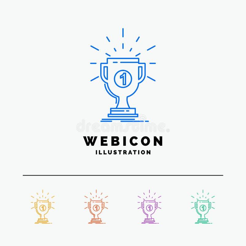 utmärkelse kopp, pris, belöning, färglinje rengöringsduksymbolsmall som för seger 5 isoleras på vit ocks? vektor f?r coreldrawill stock illustrationer