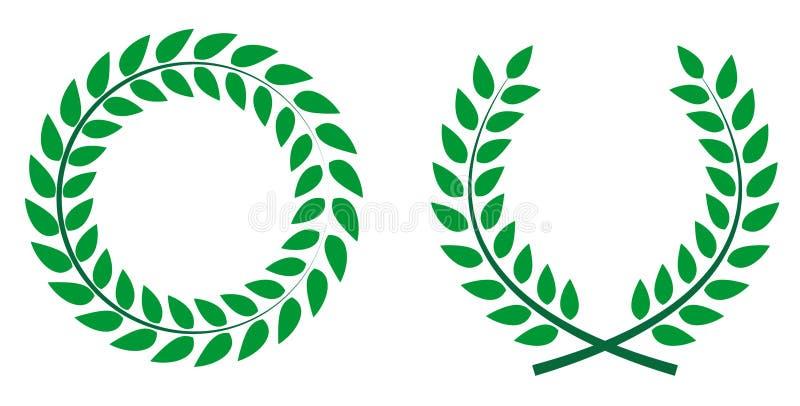 Utmärkelse Laurel Wreath Vinnarebladetikett, symbol av segern Vect vektor illustrationer