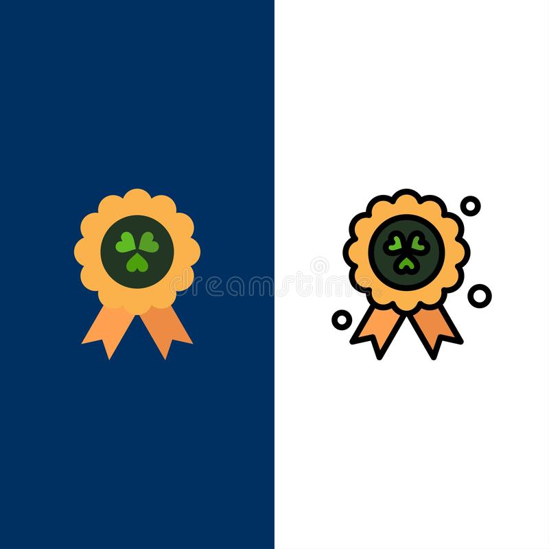 Utmärkelse medalj, Irland symboler Lägenheten och linjen fylld symbol ställde in blå bakgrund för vektorn stock illustrationer