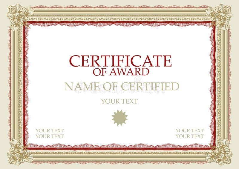 utmärkelsecertifikat arkivfoto