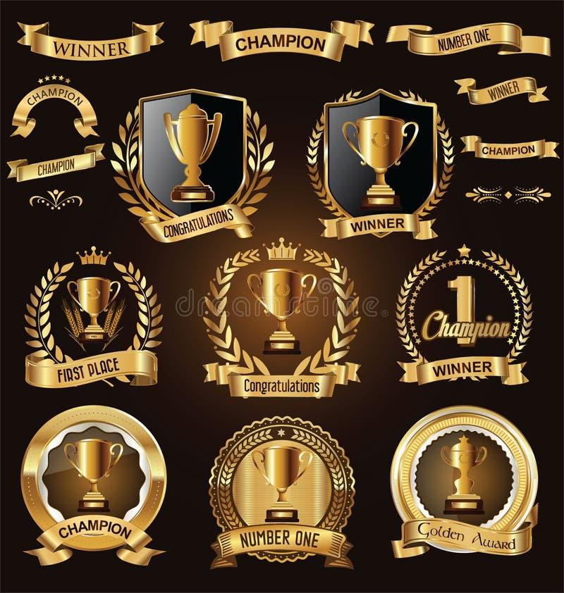Utmärkelsedesignen förser med märke och märker samlingen royaltyfri illustrationer