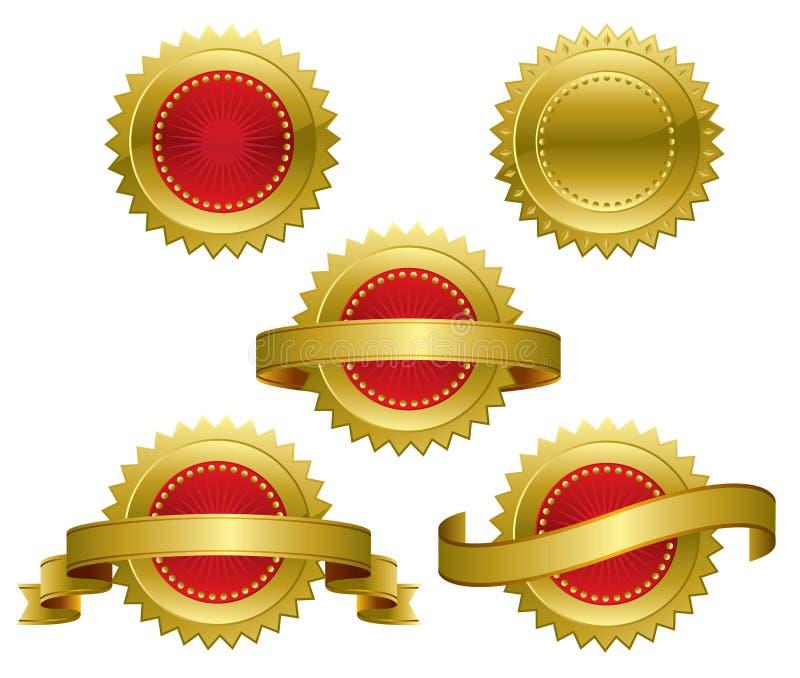 utmärkelseguldmedaljer royaltyfri illustrationer