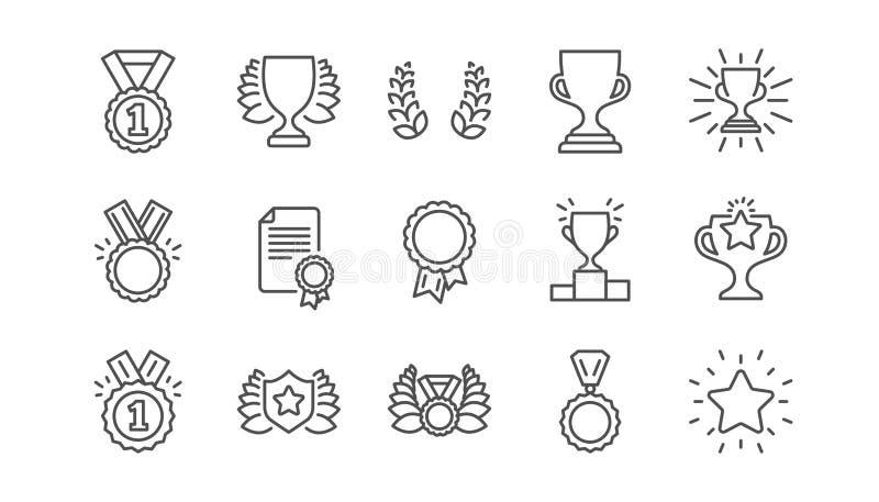 Utmärkelselinje symboler Vinnaremedalj, segerkopp och trofébelöning Linjär symbolsuppsättning vektor royaltyfri illustrationer