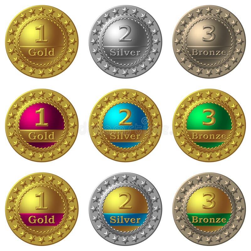 utmärkelsemedaljer stock illustrationer