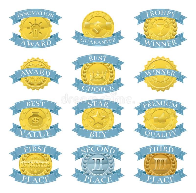 Utmärkelsemedaljer eller emblem vektor illustrationer