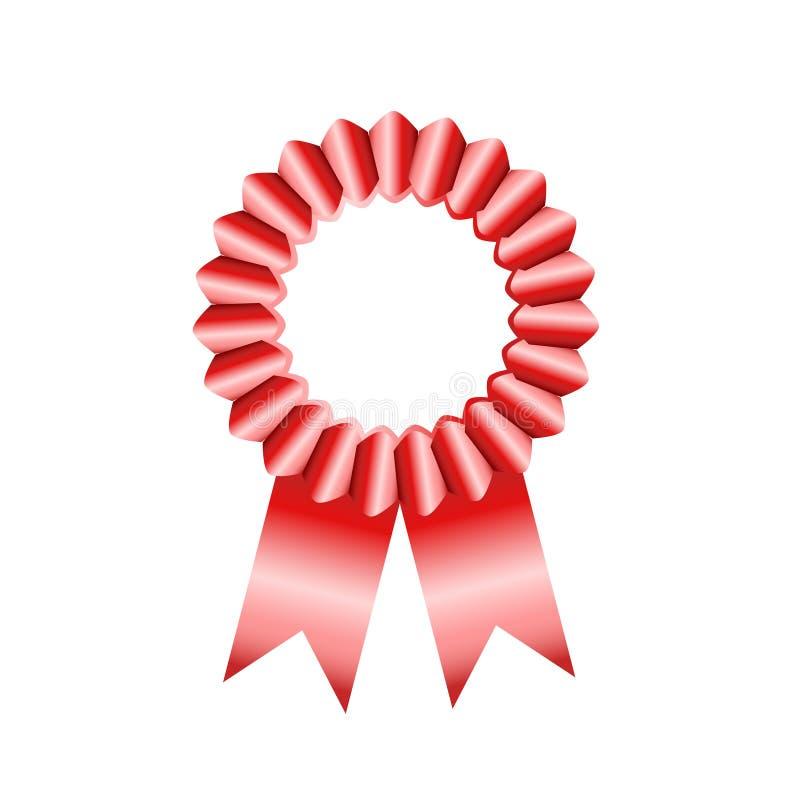 Utmärkelsen förser med märke det röda bandet på vit, materielvektorillustration stock illustrationer