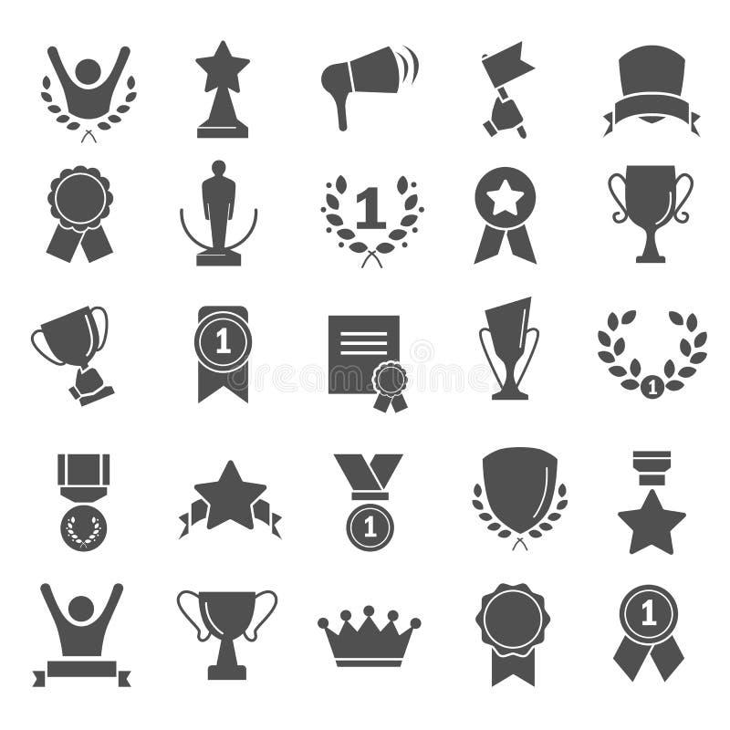 Utmärkelser och enkla symboler för priser ställde in för rengöringsduk och mobil design royaltyfri illustrationer