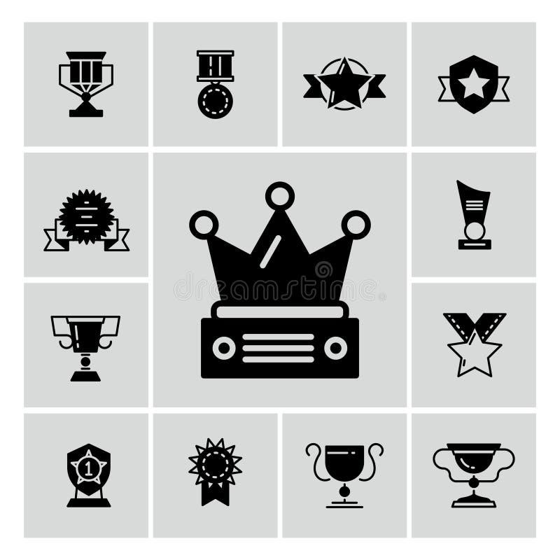 Utmärkelser, trofén och priser svärtar symboler stock illustrationer