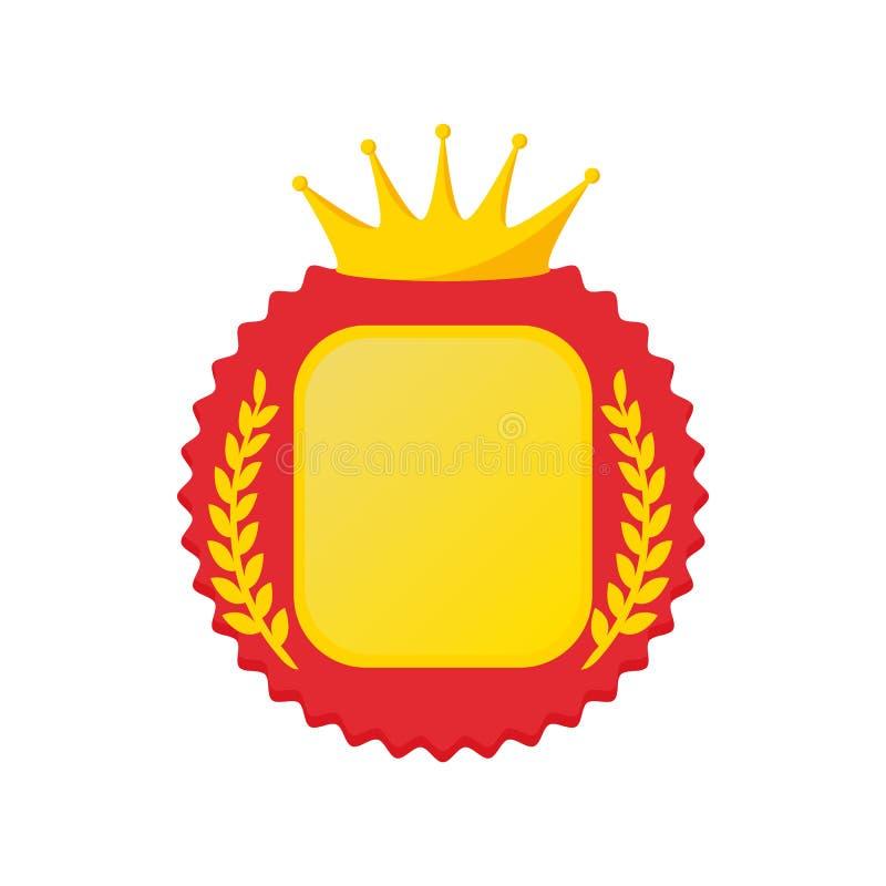 Utmärkelserosett med krona- och lagersymbolen vektor illustrationer