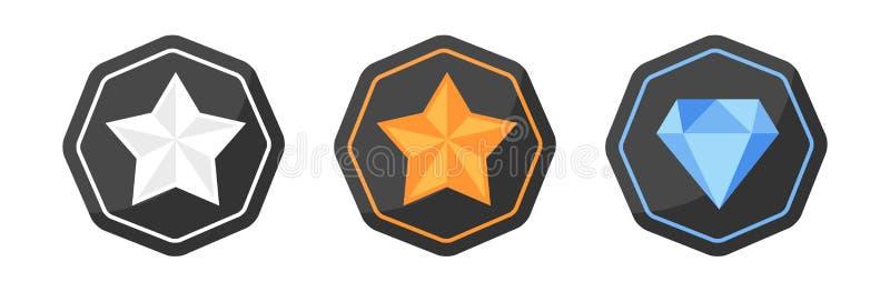 Utmärkelsesymboler försilvrar eller platina, guld, diamant