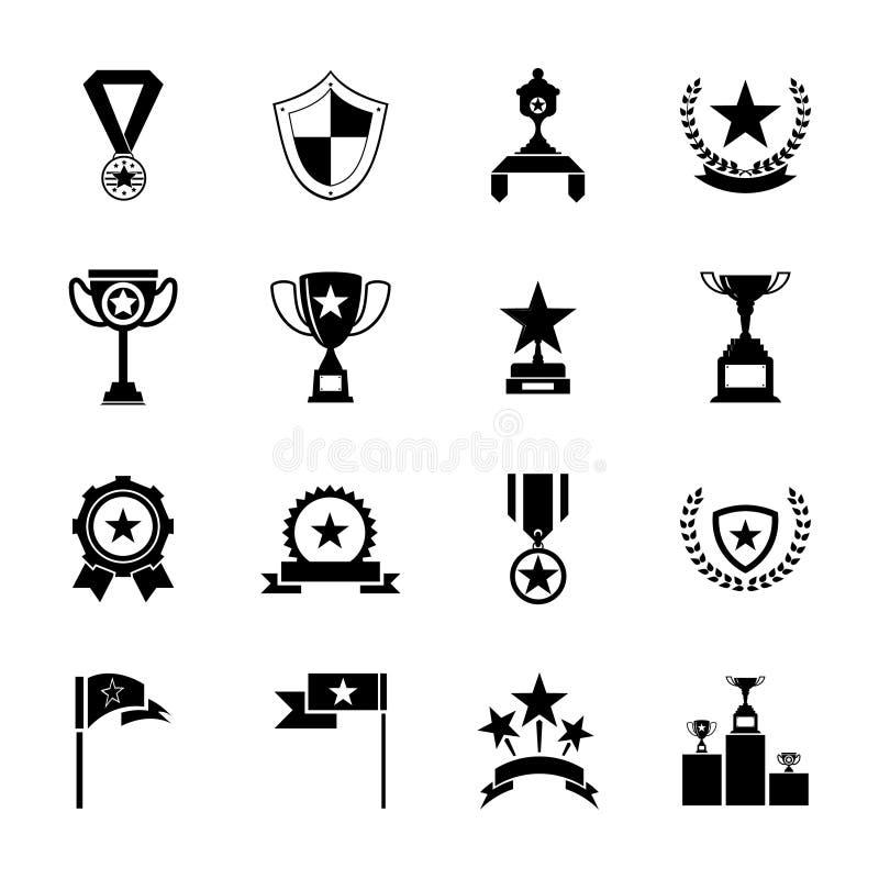 Utmärkelsesymboler och illustration för vektor för trofékontursymboler uppsättning isolerad royaltyfri illustrationer