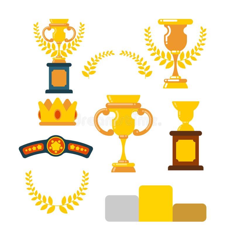 Utmärkelsevinnareuppsättning Koppar och olivgrön filial Pris av mästerskapet vektor illustrationer