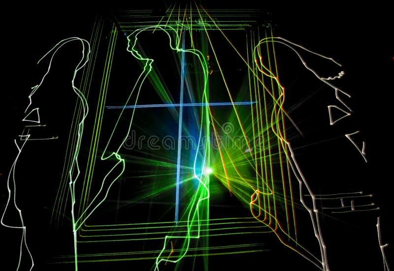 Utmärkt laser-parti på klubban folk royaltyfria bilder