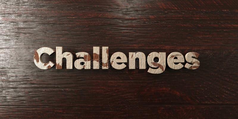 Utmaningar - grungy trärubrik på lönn - 3D framförd fri materielbild för royalty royaltyfri illustrationer