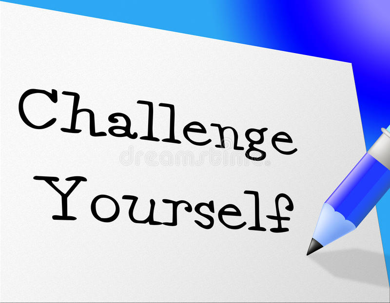 Utmaningen själv föreställer förbättringsmotivation och ståndaktighet vektor illustrationer