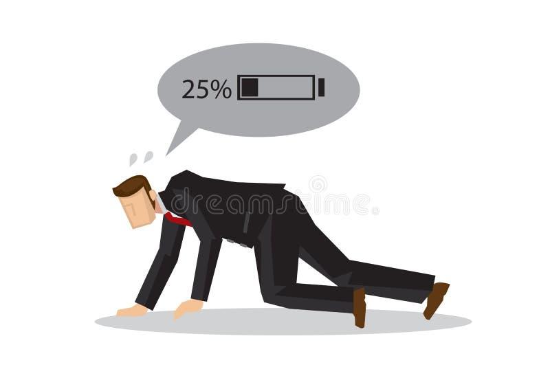 Utmattad affärsman med låg batteridrift Begrepp av utmattad anställd eller företags trötthet vektor illustrationer