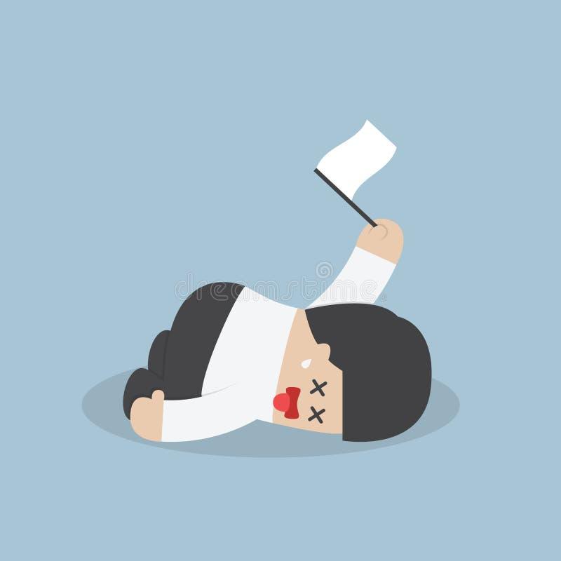 Utmattad affärsman som ner ligger på golvet och kapitulationen stock illustrationer
