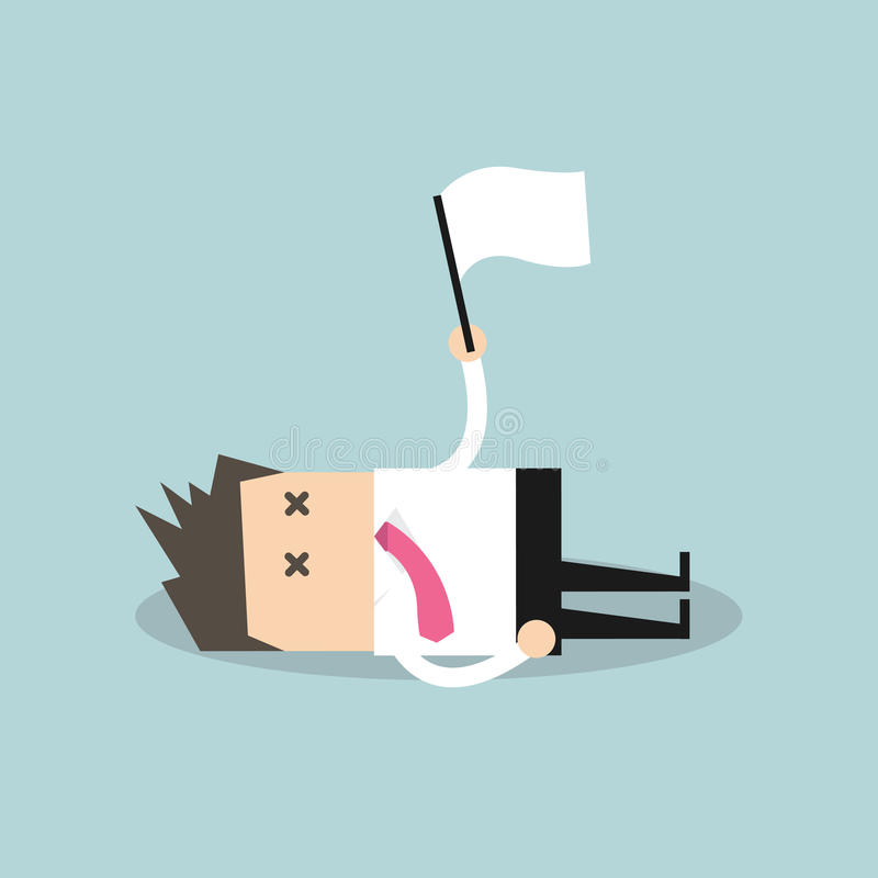 Utmattad affärsman som ner ligger på golvet och kapitulationen vektor illustrationer