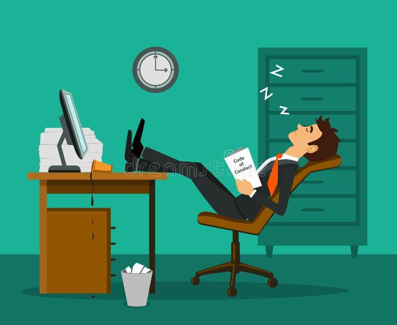 Utmattad trött uttråkad anställd som sover ben upp på tabellen på arbetsskrivbordet royaltyfri illustrationer