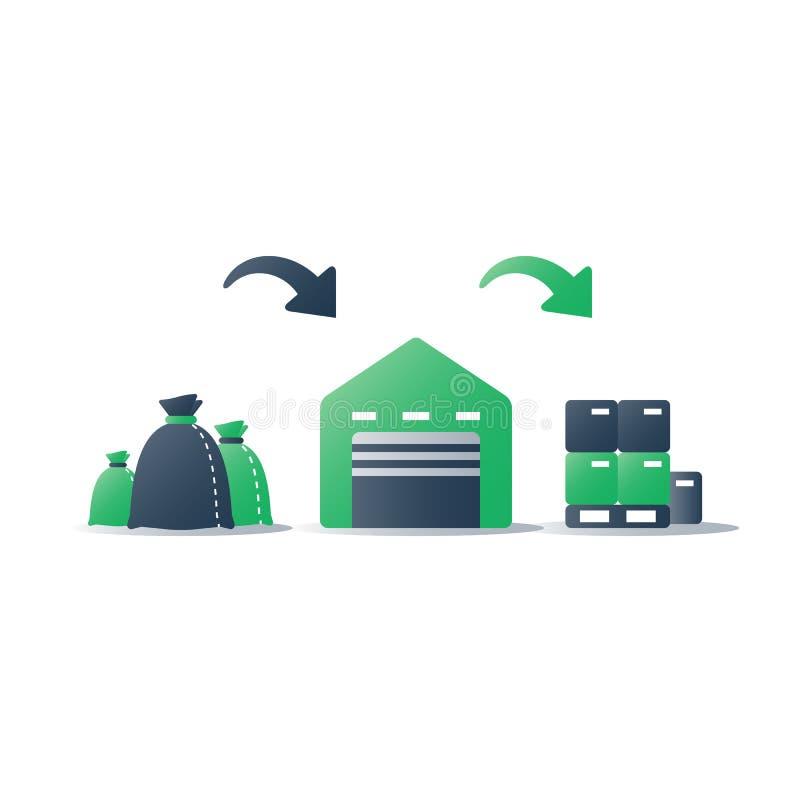 Utnyttjandeprogrammet, rackar ner på återvinningsanläggningen, återvinningsbara material, den sekundära produkten, non förlorad p royaltyfri illustrationer