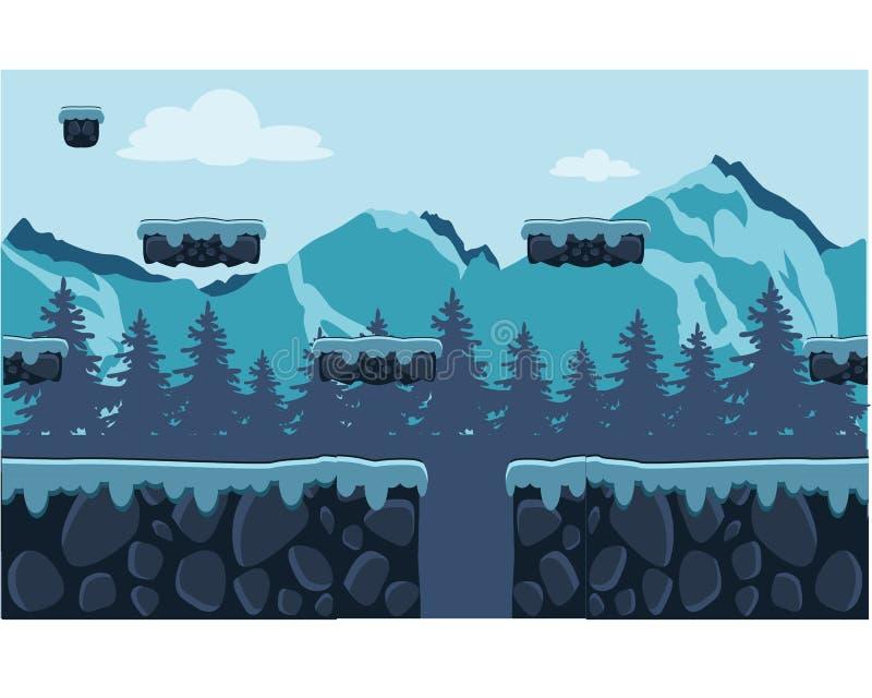 Utomhus- beståndsdel för Hilly Forest Cartoon lekbakgrund royaltyfri illustrationer