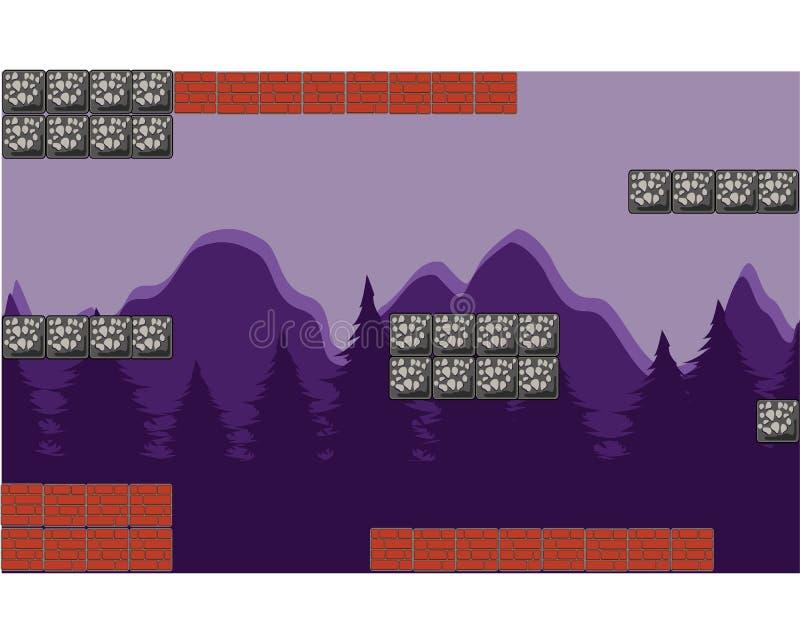 Utomhus- beståndsdel för Hilly Forest Cartoon lekbakgrund vektor illustrationer