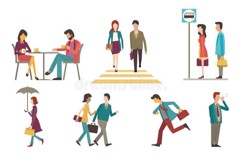 utomhus- businesspeople stock illustrationer