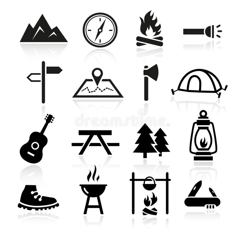 Utomhus- campa symboler royaltyfri illustrationer