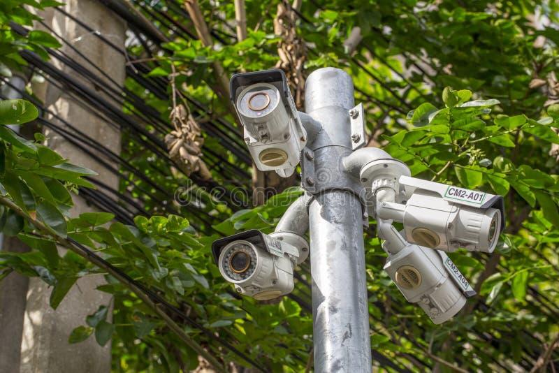 Utomhus- CCTV-kamera för åtskillig vinkel på Polen nära trädet arkivbilder