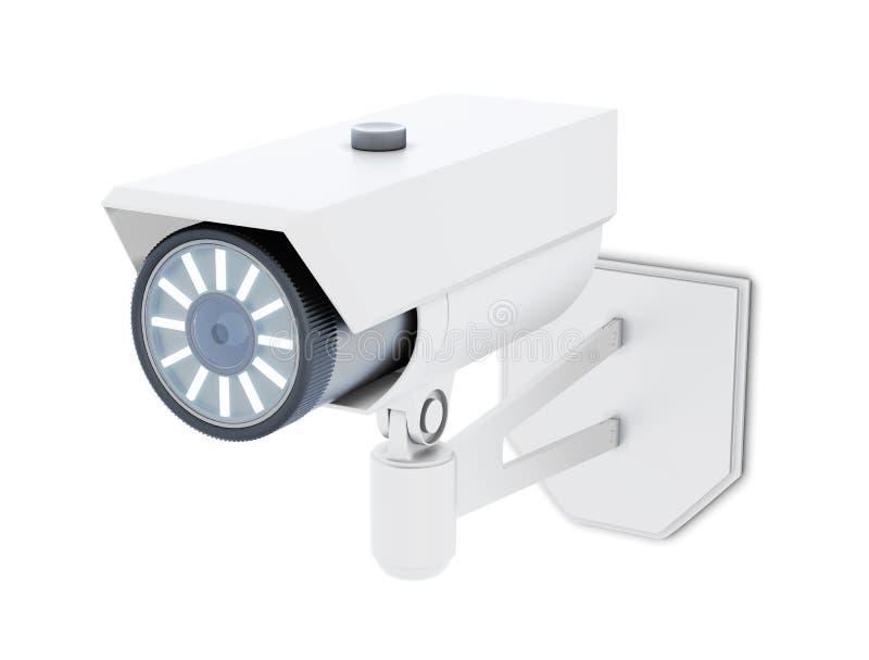 Utomhus- CCTV-kamera som isoleras på vit bakgrund framförande 3d royaltyfri illustrationer