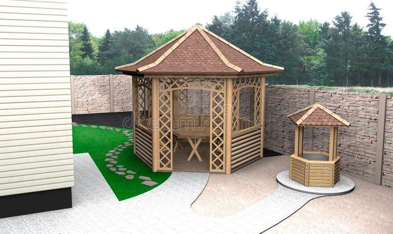 Utomhus- design för placera område, 3D att framföra vektor illustrationer